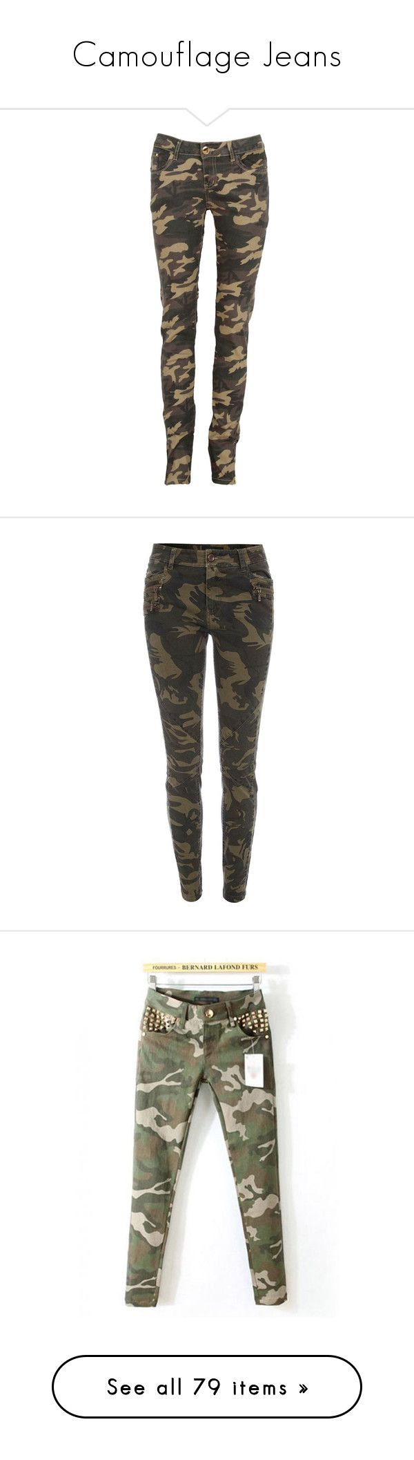 """""""Camouflage Jeans"""" by awesomepandadude ❤ liked on Polyvore featuring pants, bottoms, jeans, trousers, leggings, brown trousers, brown pants, military camouflage pants, military camo pants and military trousers"""