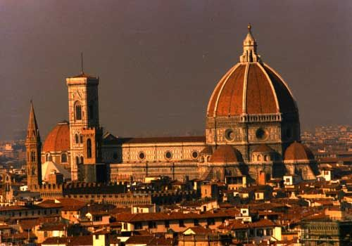 """Florence, Italy - 6/06 - The Duomo Catedral in Florence, a couple blocks away from Michelangelo's """"David"""" statue."""