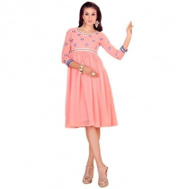 Designer Embroidery Work Kurti In Pink Color