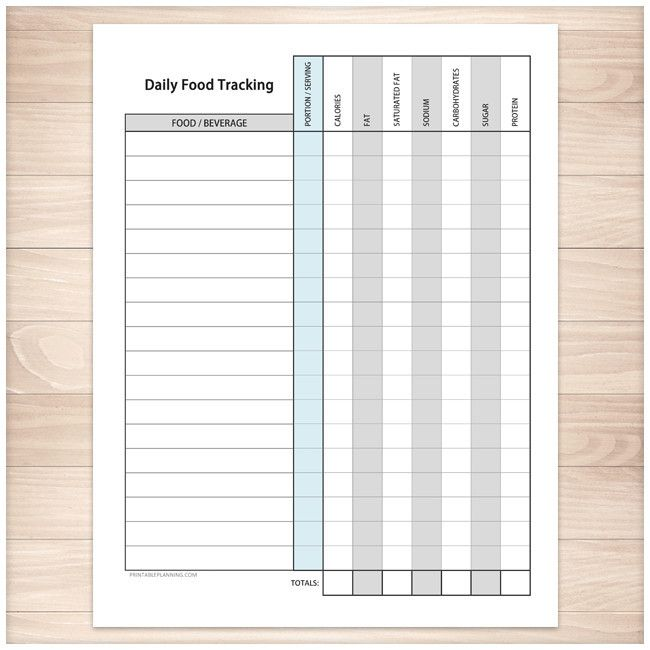 daily food content tracking sheet