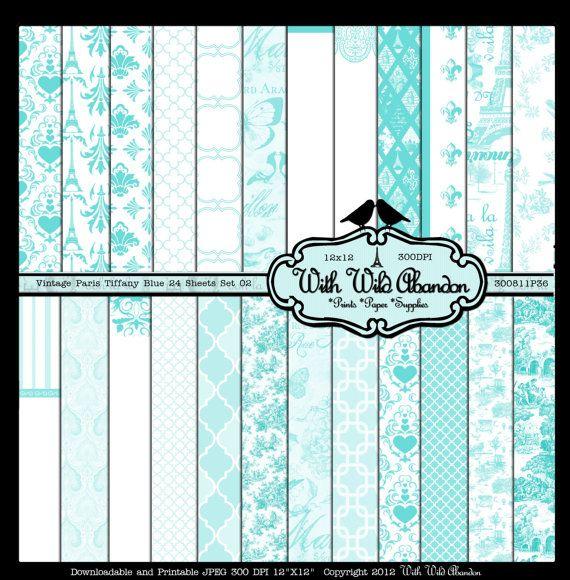 Vintage Paris Tiffany Livre bleu 24 feuilles-Argyle, quarterfoil, Damas, feuille Toile et par trimestre. 12x12 Set 02