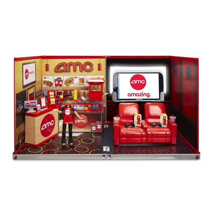 Its real world, made mini! miWorld is the only line of super realistic miniatures that allow girls to collect, connect, build, work and play in all their favorite stores! Add to your collection with the new AMC Deluxe Movie Theater! So many tiny & cute pieces to collect!<br><br>The miWorld AMC Movie Theater comes with:<br><ul><li>1 Figure</li><br><li>4 walls that snap together</li><br><li>2 floors</li>...