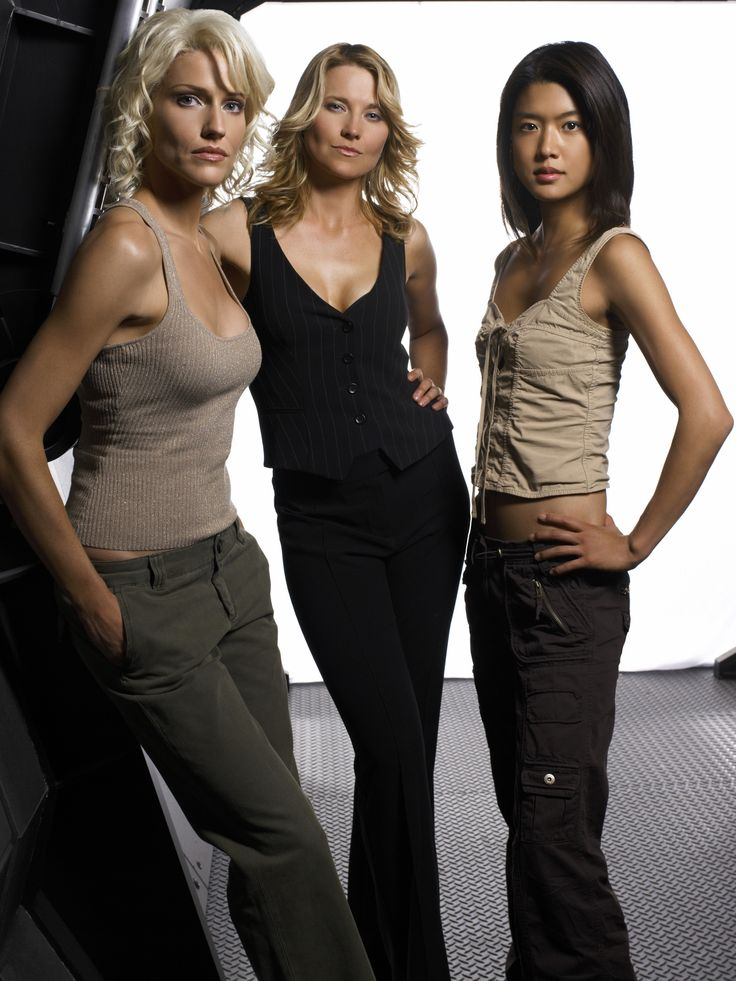 "Battlestar Galactica;Tricia Helfer, Lucy Lawless (aka Xena and Ron Swanson's paramour on NBC's ""Parks and Recreation""), and Grace Park"