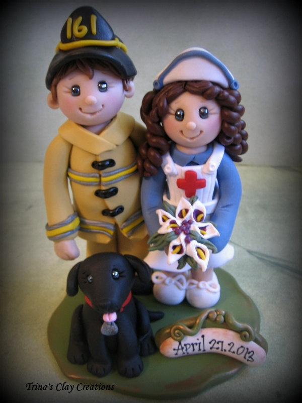 *POLYMER CLAY ~ Wedding Cake Topper, Custom Firefighter and Nurse, Personalized Polymer Clay Wedding/Anniversary Keepsake, Nurse and Fireman with Pet.