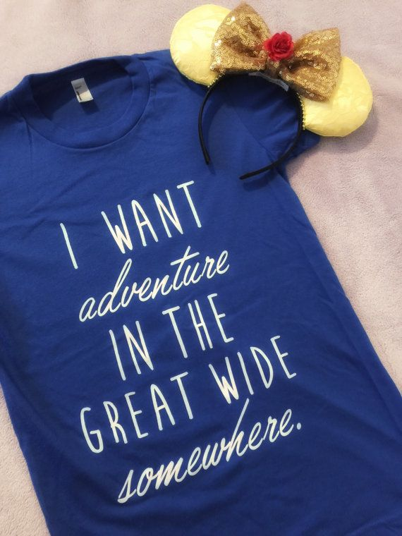 Disneys favorite bookworm/princess certainly found her adventure! Celebrate your magical trip to Disney with this Royal Blue tee! This tee is perfect for a trip to Disney! Its always an adventure, so you get to celebrate your adventure and Belles!  Bella and Canvas Tees (unisex)