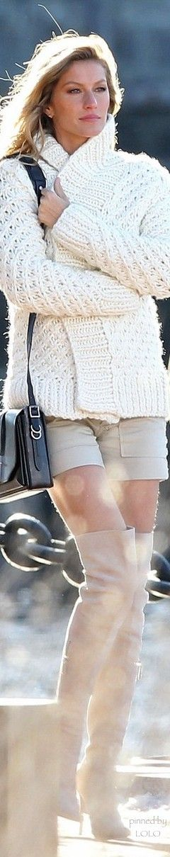 Gisele Bundchen. White knit sweater, beige shorts, high boots. Fall autumn women fashion outfit clothing style apparel @roressclothes closet ideas