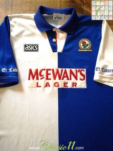 Official Asics Blackburn Rovers home football shirt from the 1994/1995 season.