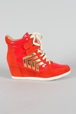 Dollhouse Street Suede High Top Velcro Lace Up Wedge Sneaker