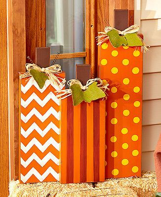 Outdoor Halloween Decor Harvest Porch Decorations Wooden Pumpkins Yard