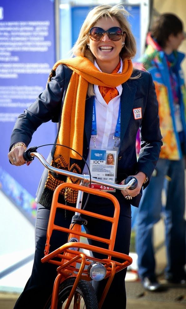 Queen Maxima of the Netherlands bikes around the Olympic village in Sochi, Russia 2/8/2014