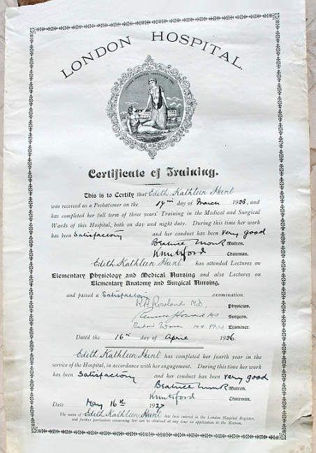 Hospital Certificates - The London Hospital.