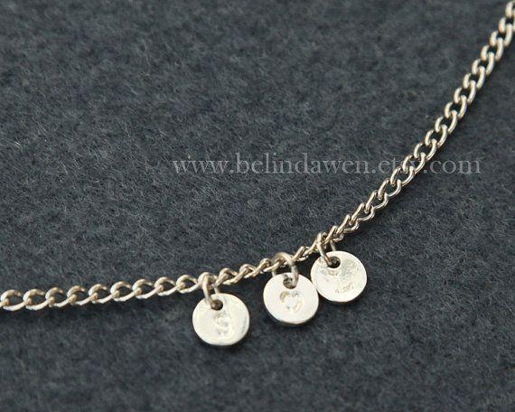 silver Initial Bracelet, Alphabet bracelet, Initial necklace, Simple Initial Bracelet, Custom Bracelet, Personalized Jewelry