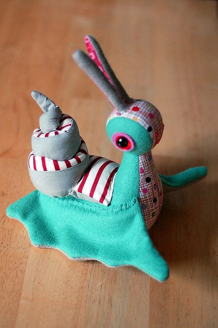 Cute snail stuffed toy. Would love to try to make...