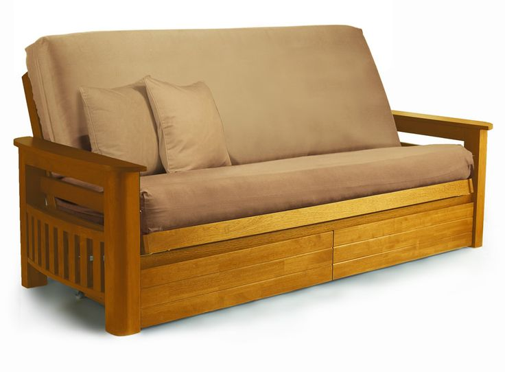 Wooden Futon Sets Frame With Brown Cushions