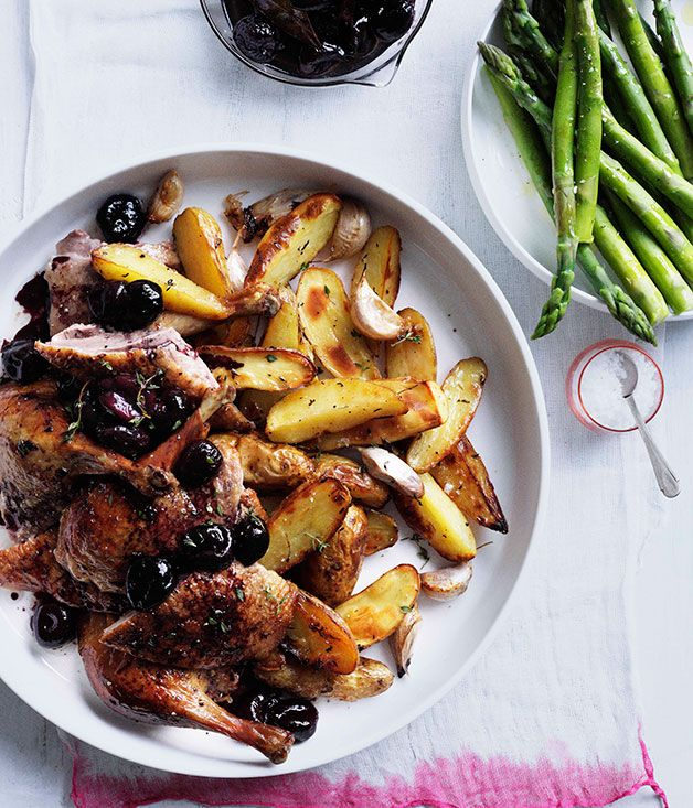 Australian Gourmet Traveller recipe for roast duck with cherries and roast kipfler potatoes.