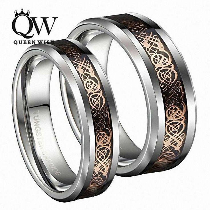 Queenwish dropshopping 8ミリメートル/6ミリメートルアイルランドケルトドラゴンタングステン結婚指輪エタニティ結婚指輪ジュエリー