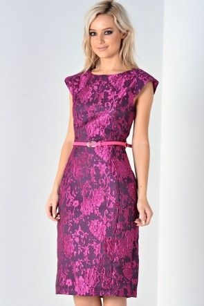 Kelly Brocade Belted Dress in Magenta
