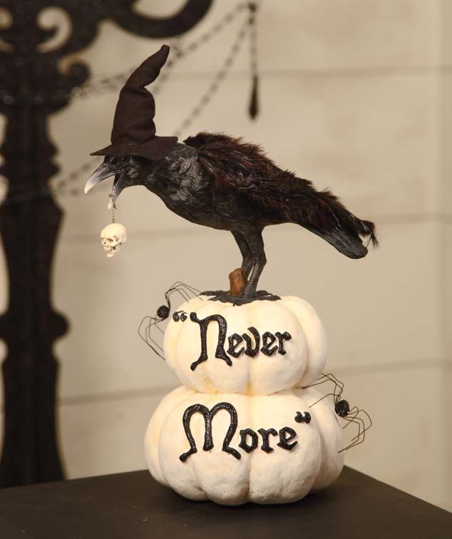 raven never more classic white and black halloween love the witches hat on the crow - Raven Halloween Decorations