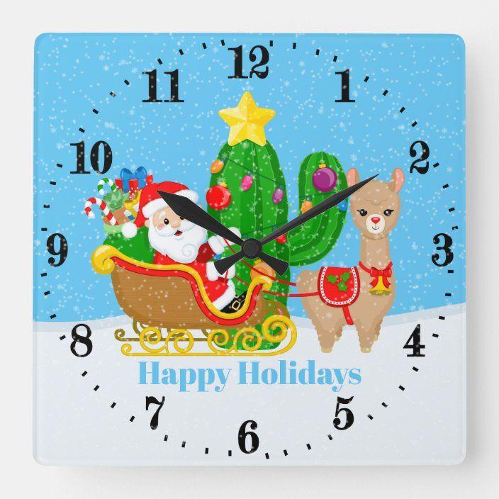 Festive Christmas Santa Llama Add Name Message Square Wall Clock Zazzle Com Custom Holiday Card Square Wall Clock White Elephant Gifts Funny