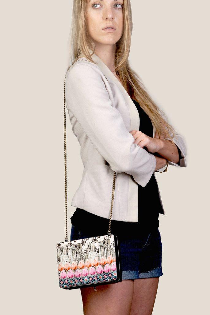 Twin Lotus Box Clutch   Sling Bag   Handmade   Organic Fashion