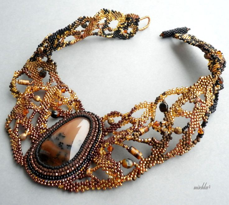 Peyote Freeform Necklace with Dendritic Agate