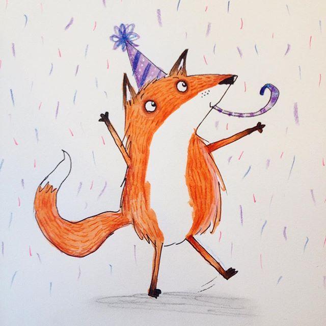 Прикольная лиса рисунок, днем рождения елена
