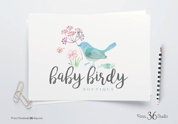 Instant Download Watercolor Floral Bird Logo DIY Logo