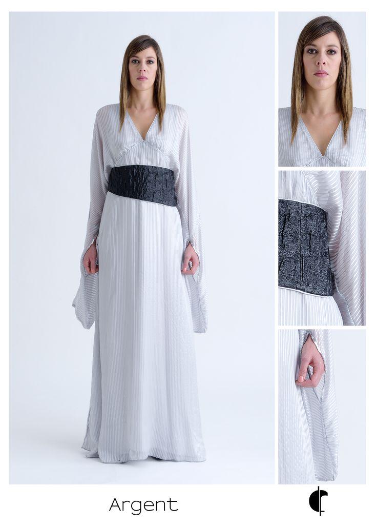 Robe de cérémonie Argent, soie haute couture. #fabiennedimanov