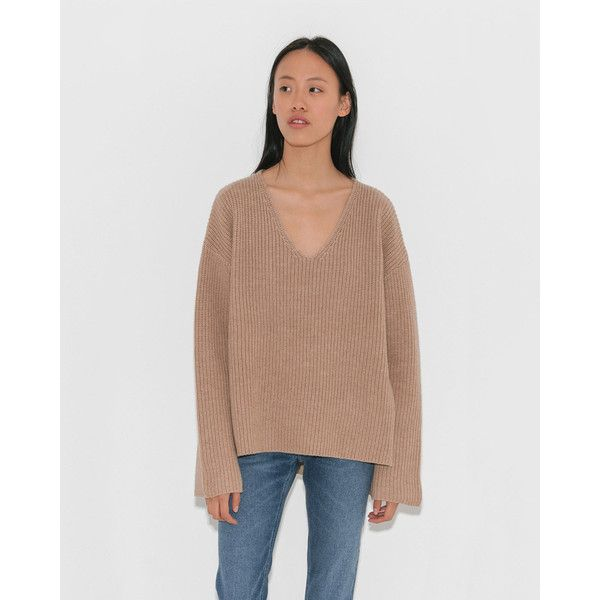 Totême Nimes ($390) ❤ liked on Polyvore featuring tops, sweaters, camel top, drop shoulder sweater, v-neck tops, sweater pullover and drop-shoulder tops
