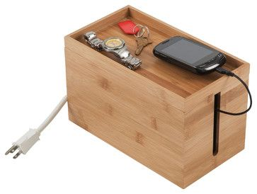Small Space-Saving Bamboo Cord Cubby - contemporary - cable management - Great Useful Stuff