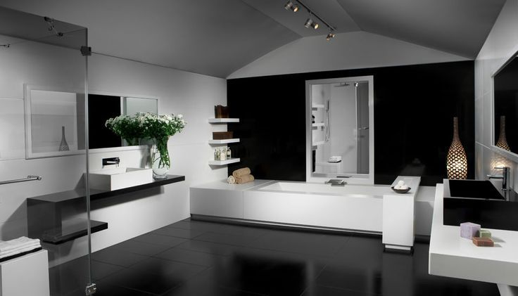 Caesarstone  Classico  #2141 and #6100 Absolute Noir. Who wouldn't want to get ready in this washroom? www.caesarstone.sg