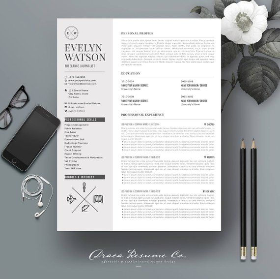 Professional Resume Template Cv Template Photoshop Resume Cover Letter Ms Word Resume Cv Freelancer Journalist Instant Download Re007