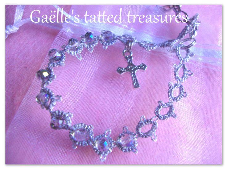 Rosario bracciale in pizzo chiacchierino argento con cristalli di gaestattedtreasures su Etsy