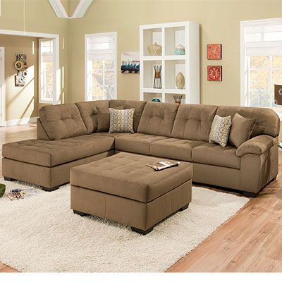 Simmonsr malibu mocha 2 piece sectional with four pillows for Sectional sofas at big lots