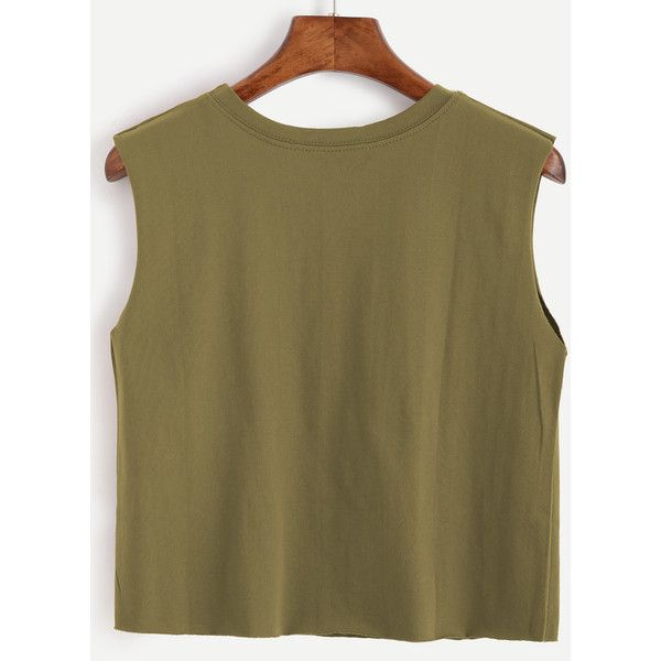 SheIn(sheinside) Army Green Graphic Print Crop Top ($7) ❤ liked on Polyvore featuring tops, cut-out crop tops, brown camisole, graphic crop top, brown cami top and cami crop top