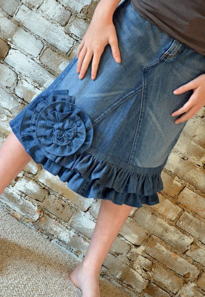 Denim Rose Ruffle. Great idea for hiding that you added length!