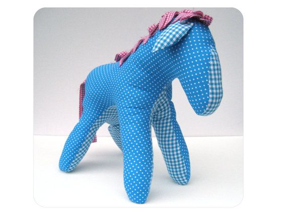 Blue plush horse - Handmade toy for girl - Unique stuffed animal horse - Stuffed horse - Horse plushie - Modern nursery decor - cute baby stuff by Mippoos
