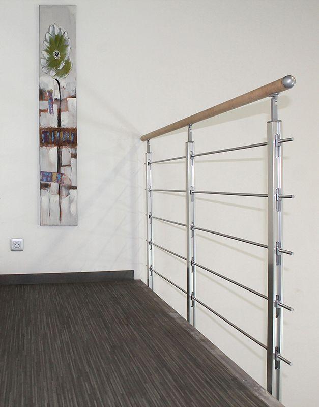 garde corps aluminium poli avec main courante bois et remplissage tubes pose laterale