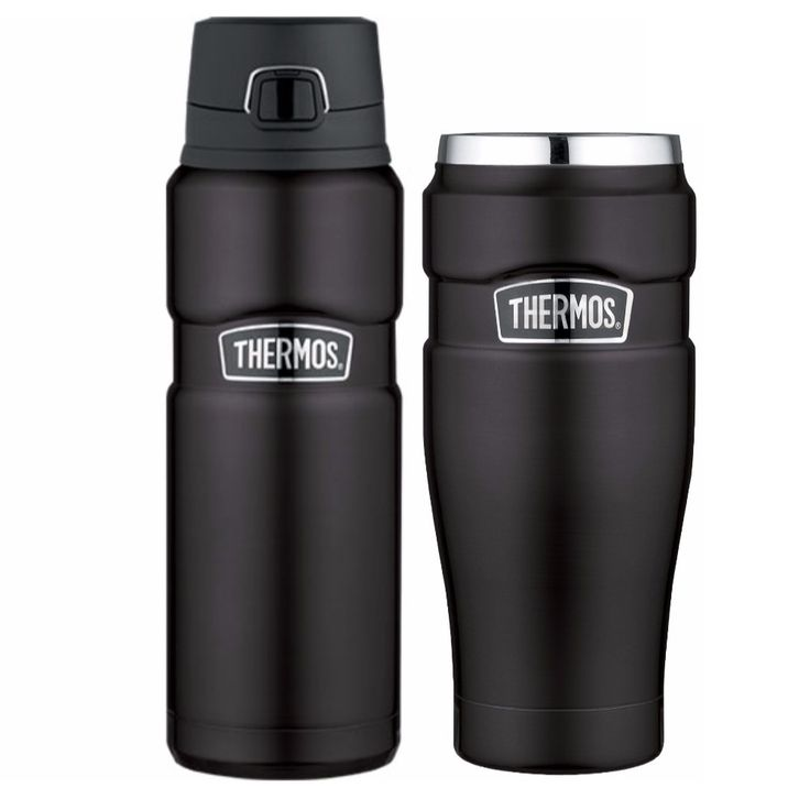 Thermos Stainless Steel Insulated 24oz Drink Bottle and 16oz Travel Tumbler, Black