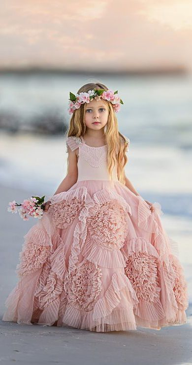 81cba18098a Ivory Lace Bodice Tulle Cute Flower Girl Dresses ARD1231 in 2019 ...