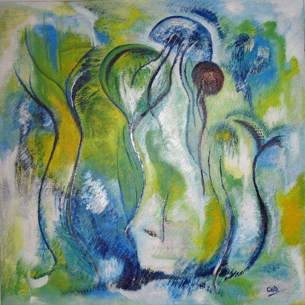 Maleri: Søndagstander (solgt)  Blev malet på Morsdag :-) Jeg var bare i stemning og fik en glad dag.