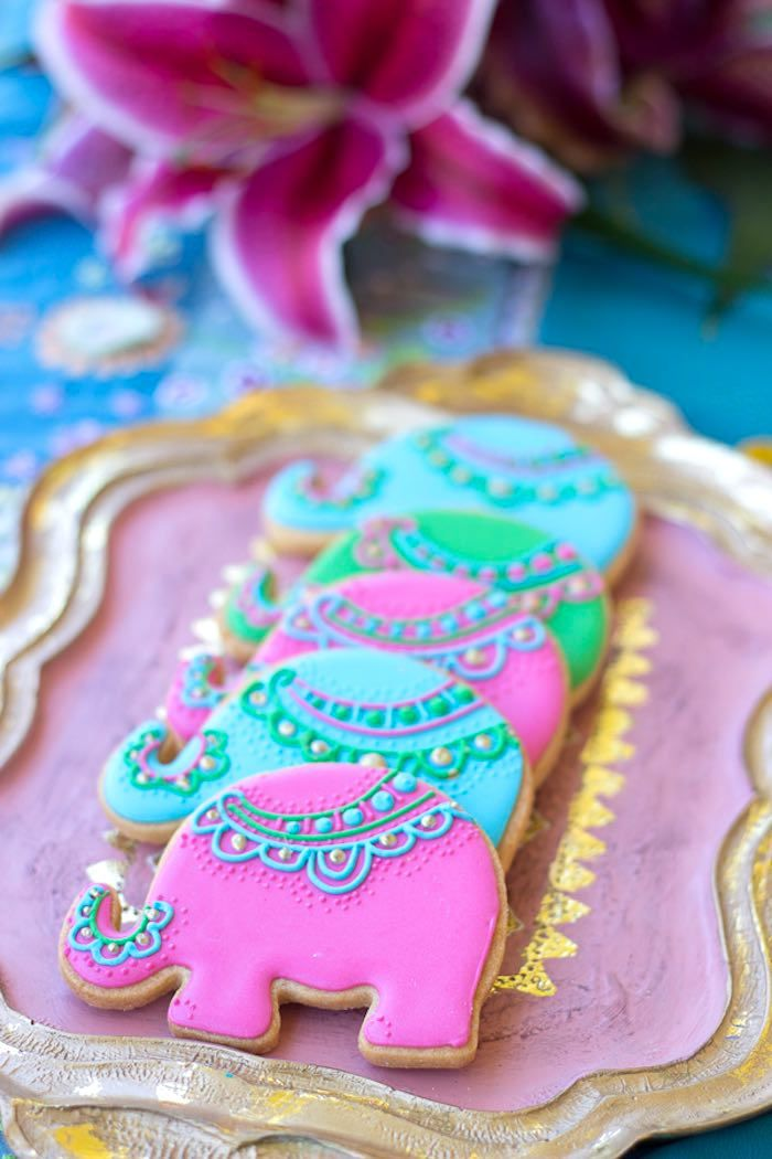 Adorable elephant cookies from Bollywood Inspired Birthday Party at Kara's Party Ideas. See the whole party at karaspartyideas.com!