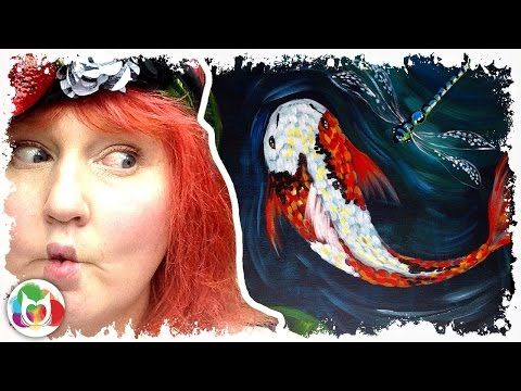 Live how to paint koi and dragon fly youtube for Live dragon koi fish