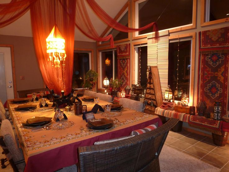 33 Cool Moroccan Dining Room Designs : 33 Moroccan Dining Room Designs With  White Brown Wall Wooden Dining Table Curtain Window Sofa Lamp Ch.