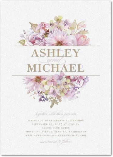 Watercolor Bouquet - Shimmer Wedding Invitations - Lady Jae - Lilac - Purple : Front