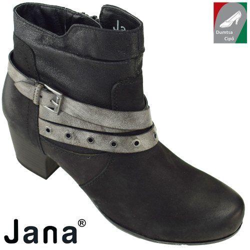 Jana női bőr bokacsizma 8-25330-29 001 fekete