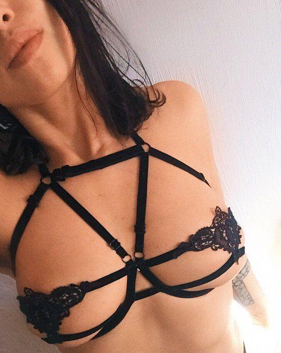 b871ac97a2 erotic strappy velvet lace lingerie set   open cup bra   cage bra   harness  bra elastics   frame bra