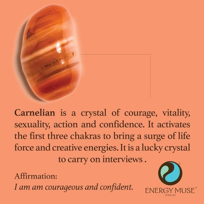Carnelian is a crystal of courage, vitality, sexuality, action and confidence. It activates the first three chakras to bring a surge of life force and creative energies. It is a particularly lucky crystal to carry on interviews or auditions. #carnelian #crystals #healing