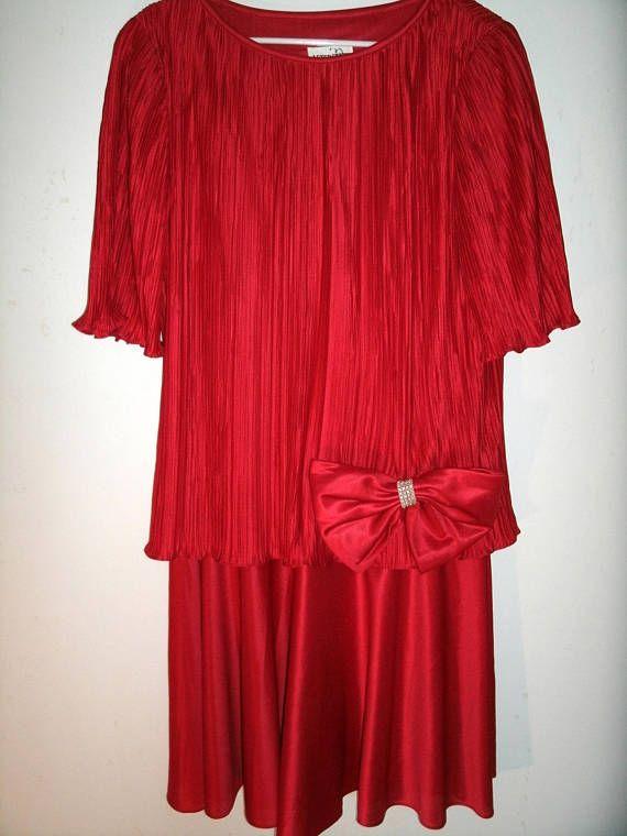 Vintage Red Flapper Dress After Dark 1980s Does 1920s