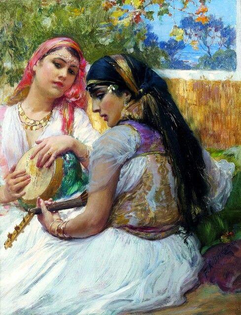Algérie - Peintre American, Frederick Arthur Bridgman (1847-1928),Technique: huile sur toile , Titre : Deux Algériennes